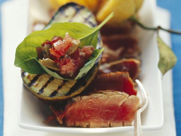 Thunfisch mit Avocado vom Grill