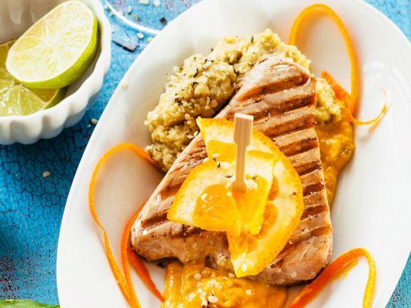 Thunfisch mit Quinoa und Kürbispüree