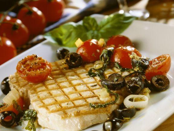 Thunfisch mit Tomaten vom Grill