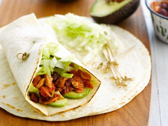 Thunfisch-Wraps mit Avocado und Bohnen