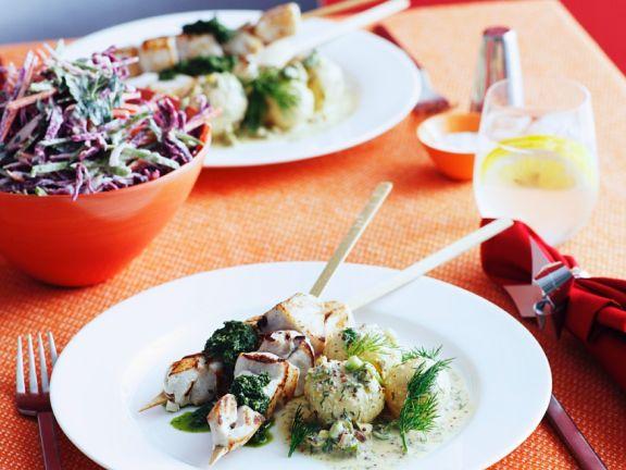 Thunfischspieße mit Kartoffeln