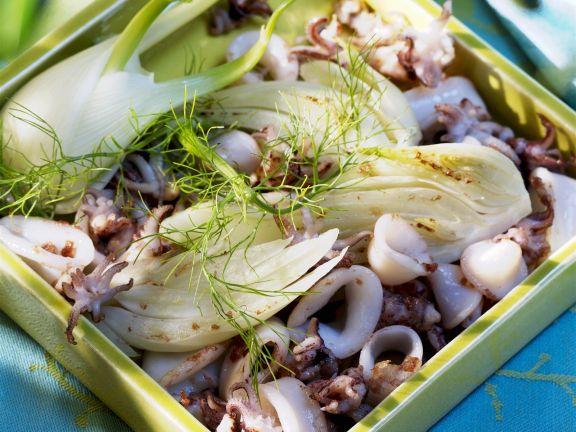 Tintenfisch-Salat mit Fenchel