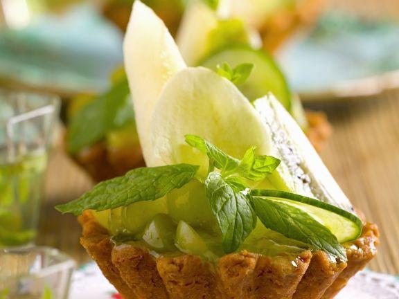 Törtchen mit Honigmelone und Minze