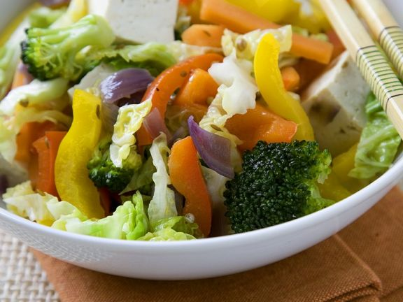 Tofu-Gemüse aus dem Wok