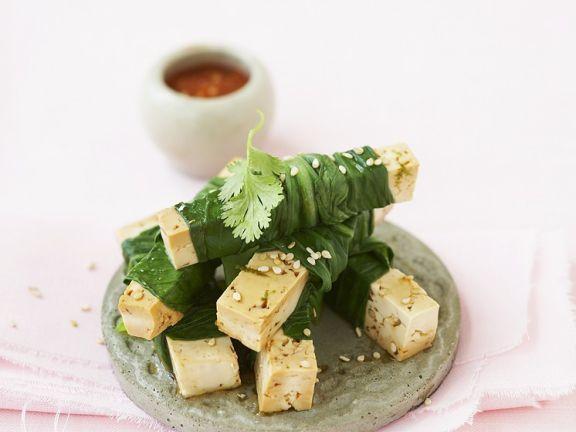 Tofu im Pak Choi Mantel