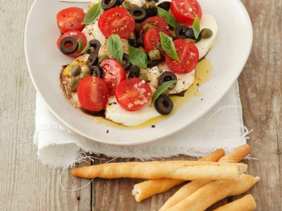 Tomate-Mozzarella mit Oliven
