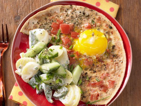 Tomaten-Eier mit Kartoffelsalat