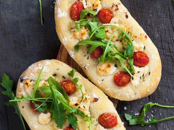 Tomaten-Focaccia mit Ziegenkäse