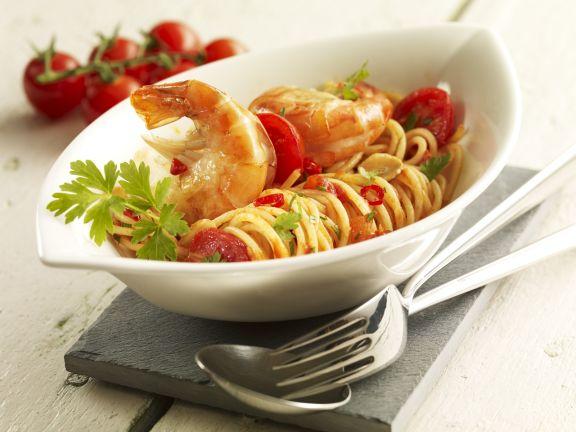 Tomaten-Garnelen-Pasta