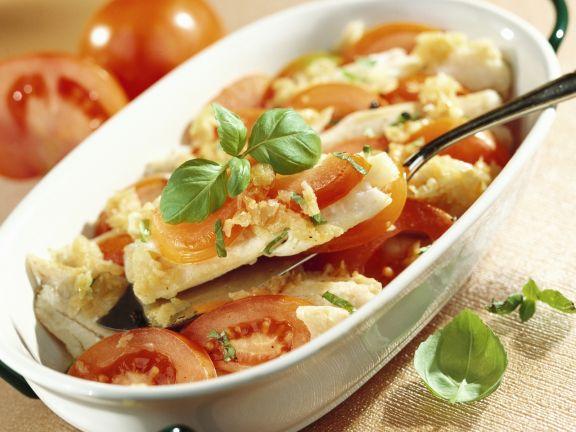 Tomaten-Kabeljau-Gratin