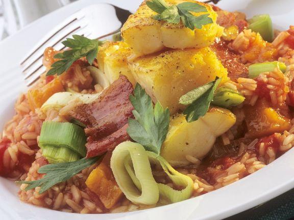 Tomaten-Lauch-Risotto mit Kalbeljauhappen