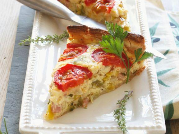 Tomaten-Quiche mit Putenschinken