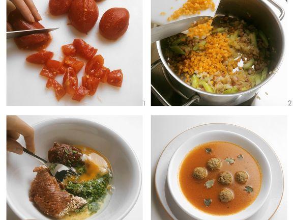 Tomatensupppe mit Fleischeinlage