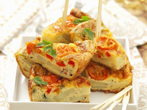 Tortilla mit Paprika und Tomaten