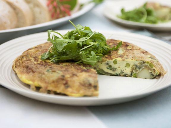 Tortilla mit Spinat und Paprika