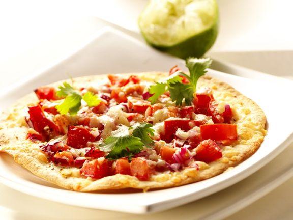 Tortillafladen mit Paprika und Käse