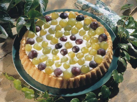 Traubenkuchen mit Weincreme
