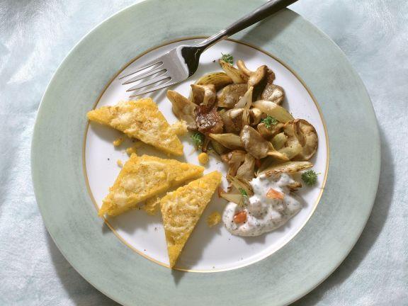Überbackene Polenta mit Pilzen