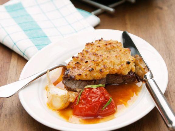 Überbackene Steaks mit Tomatengemüse