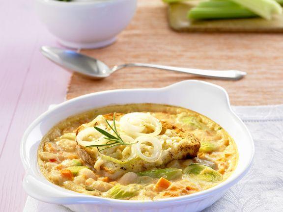 Überbackene Bohnensuppe
