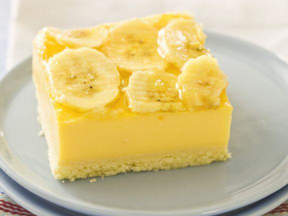 Vanillepuddingkuchen mit Banane