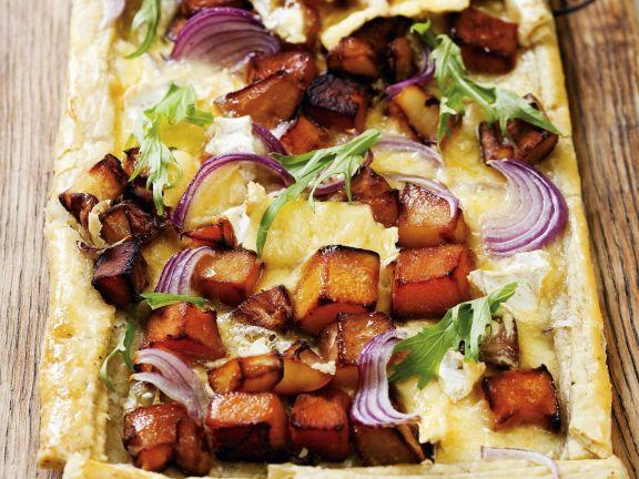 Tarte mit Süßkartoffeln und Butternut-Kürbis