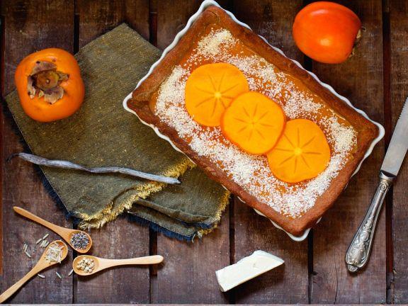 veganer kaki kuchen mit chia samen rezept eat smarter. Black Bedroom Furniture Sets. Home Design Ideas