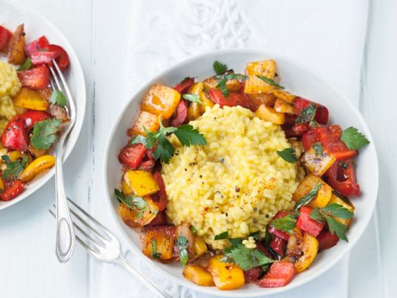 Veganes Risotto mit Paprikagemüse