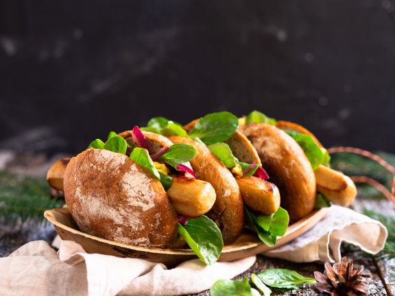 Vegetarische Bratwurst im Brötchen