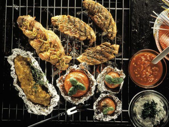 Verschiedene Fleischgerichte vom Grill