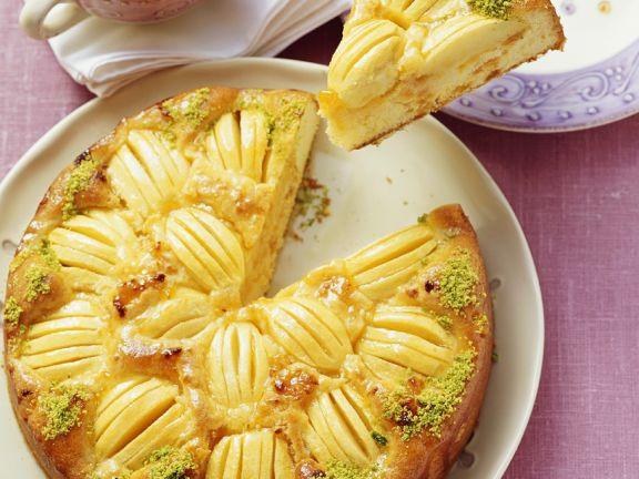Versunkener Apfelkuchen mit Aprikosen