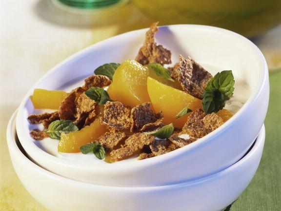 Vollkornflakes mit Pfirsich