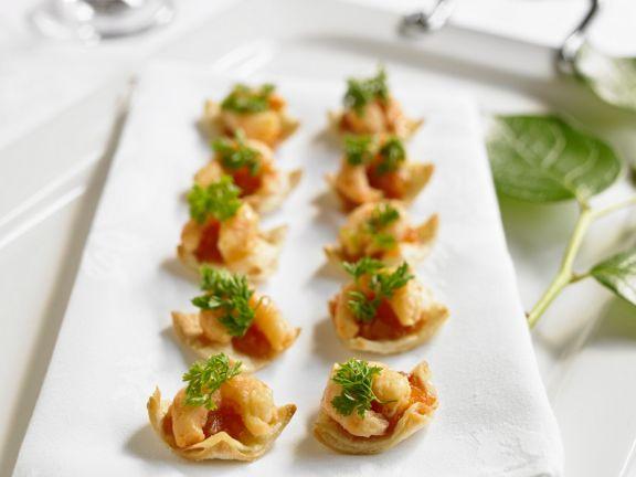 Wan-Tan-Häppchen mit Shrimps