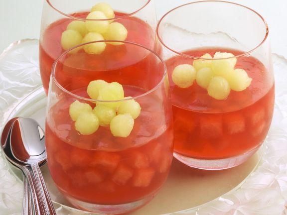 Wassermelonengelee mit Honigmelonenperlen