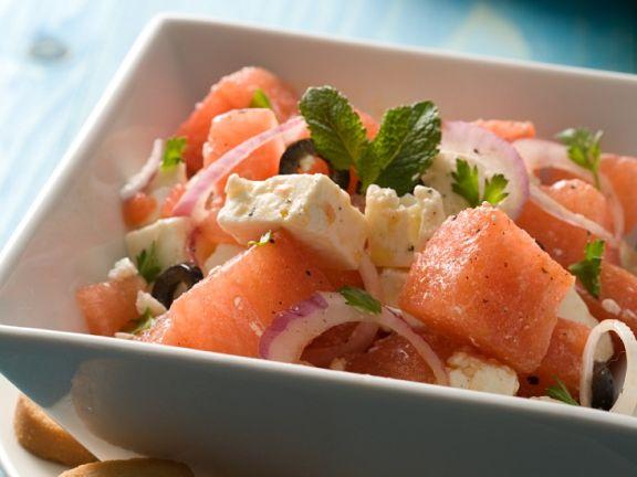 Wassermelonensalat mit Schafskäse