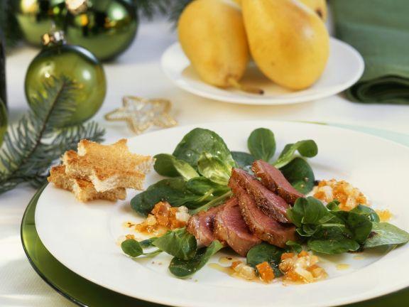 Weihnachtliche Entenbrust mit Senfvinaigrette und Rapunzel