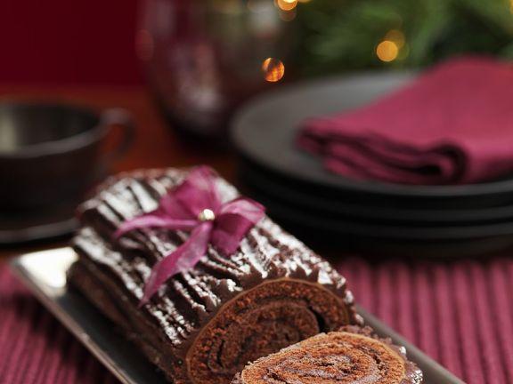 Weihnachtliche Schokoroulade