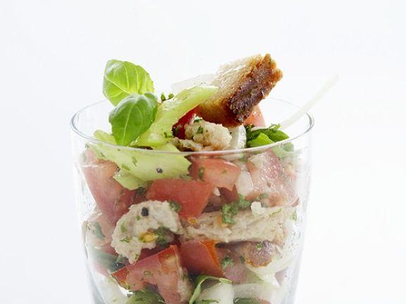 Weißbrot-Tomatensalat