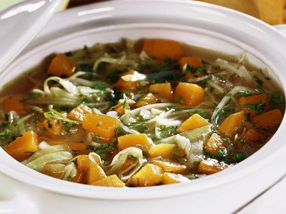 Weißkohl-Kürbissuppe