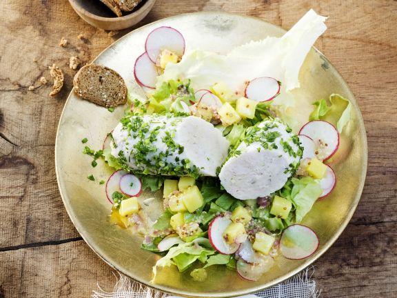Weißwurst im Kräutermantel mit bayerischem Kartoffelsalat