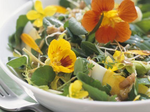 Wildkräutersalat mit Essblüten und Eiern