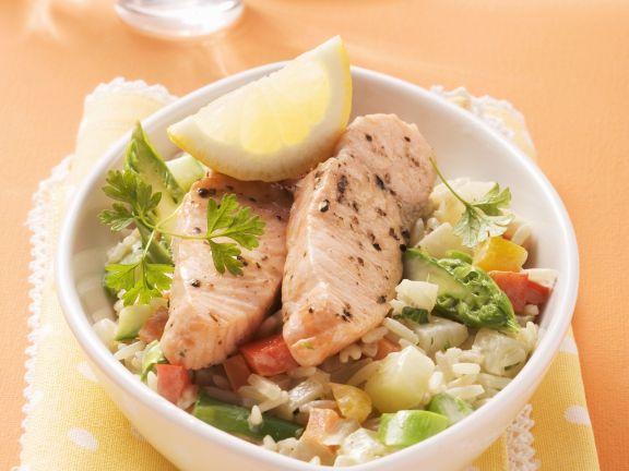 Wildlachs Auf Reis Mit Gemischtem Gemüse Rezept Eat Smarter