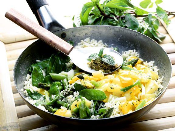 Wok-Gemüse mit Reis