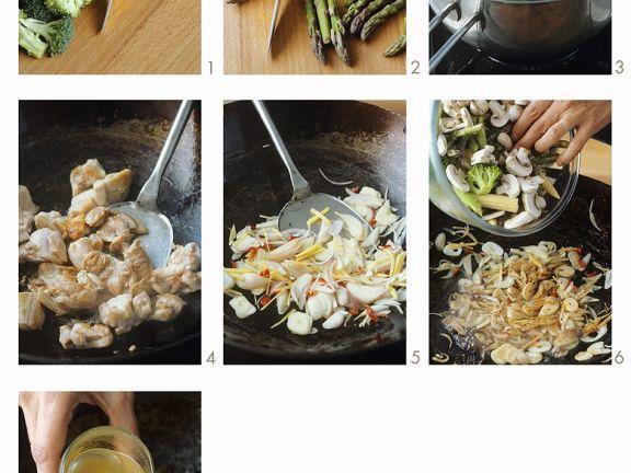 Wokgemüse mit Hähnchen