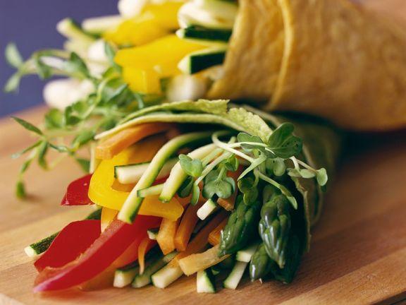 Wraps mit Gemüsefüllung