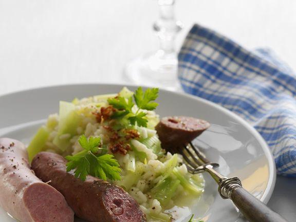 Würste mit Kartoffel-Lauchgemüse