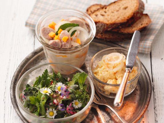 Wurstsalat mit Aufstich