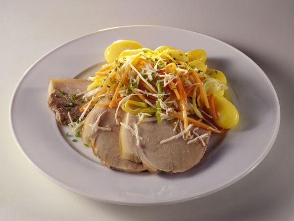 Wurzelfleisch mit Meerrettich und Kartoffeln
