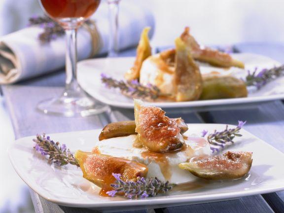 Ziegenfrischkäse mit Lavendel-Honig-Feigen und Portwein