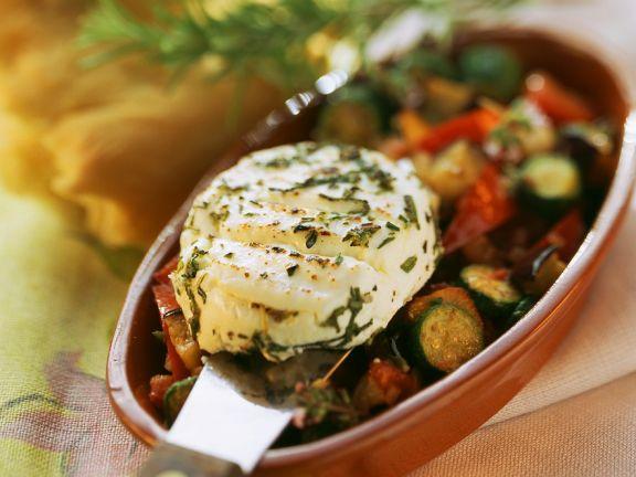 Ziegenkäsetaler mit Gemüse